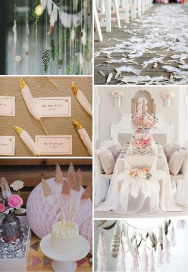 Feathers as wedding décor